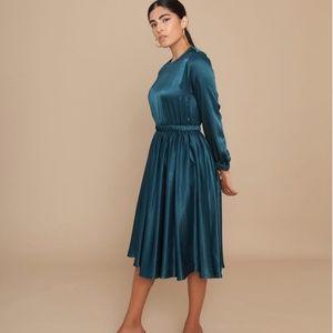 Satin waist defining dress turquoise blue satin